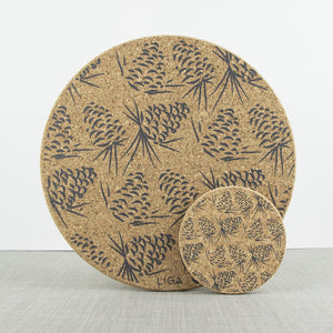 Grey pinecone placemats and coaster