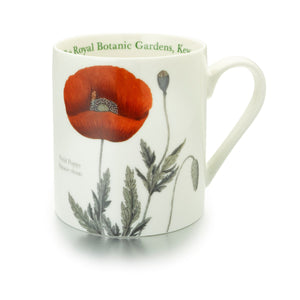White mug with poppy design