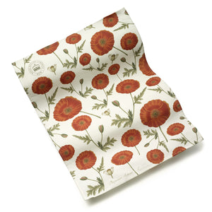 Cotton Tea Towel with Red Poppy Design