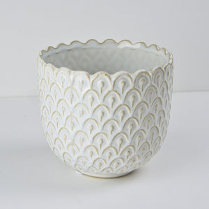 Art Deco Plant Pot, White