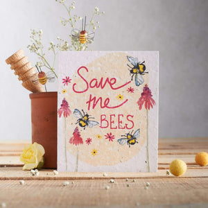Card with 'Save the bees' message and bumblebee design