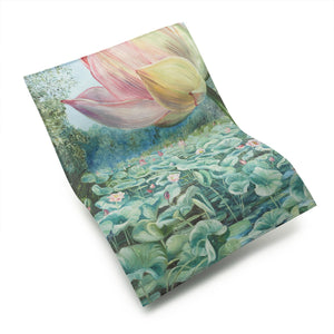 Cotton Tea Towel with Marianne North Sacred Lotus Design