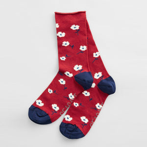 Red Floral Bamboo Socks
