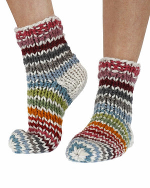 Chunky knit stripe socks