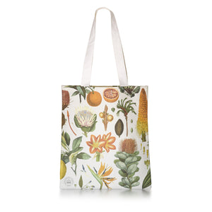 Cotton Tote Bag with Temperate Botanical Floral Design