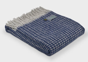 100% Wool Throw in navy and white.