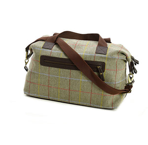 Tweed Weekend Bag with brown handles and straps