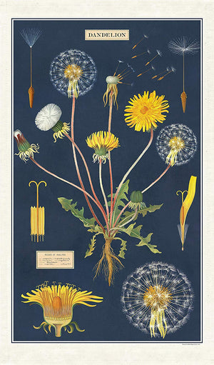 Cotton tea towel with dandelion pattern