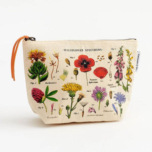 Cotton cosmetic bag in wildflower print