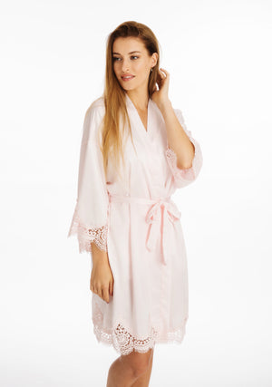 Lace Silky Pink Dressing Gown ena and co homewear