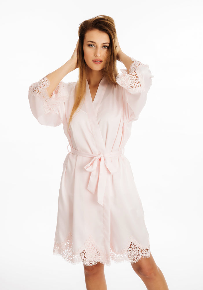 Lace Silky Pink Dressing Gown ena and co nightwear