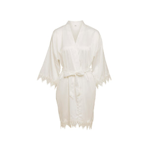 Lace Silky White Dressing Gown Homewear