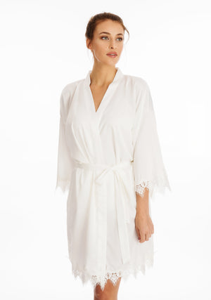Lace Silky White Dressing Gown ena and co homewear