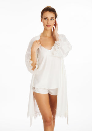 Lace Silky White Dressing Gown ena and co loungewear