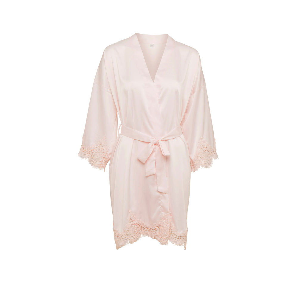 Lace Silky Pink Dressing Gown Homewear
