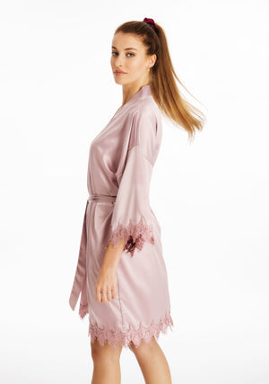 Lace Silky Mauve Dressing Gown