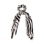 Tie bow hair scrunchie zebra