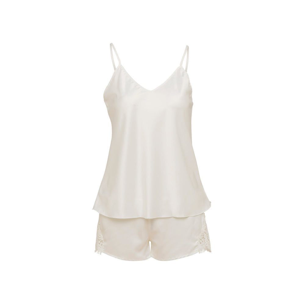 Load image into Gallery viewer, Pyjama White Satin Cami and Short Set