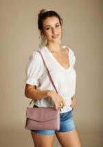 leather bag croco pink ena and co clutch trendy chic