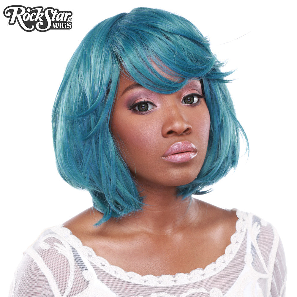 "RockStar Wigs® <br> Hologram 12"" - Turquoise Mix -00668"