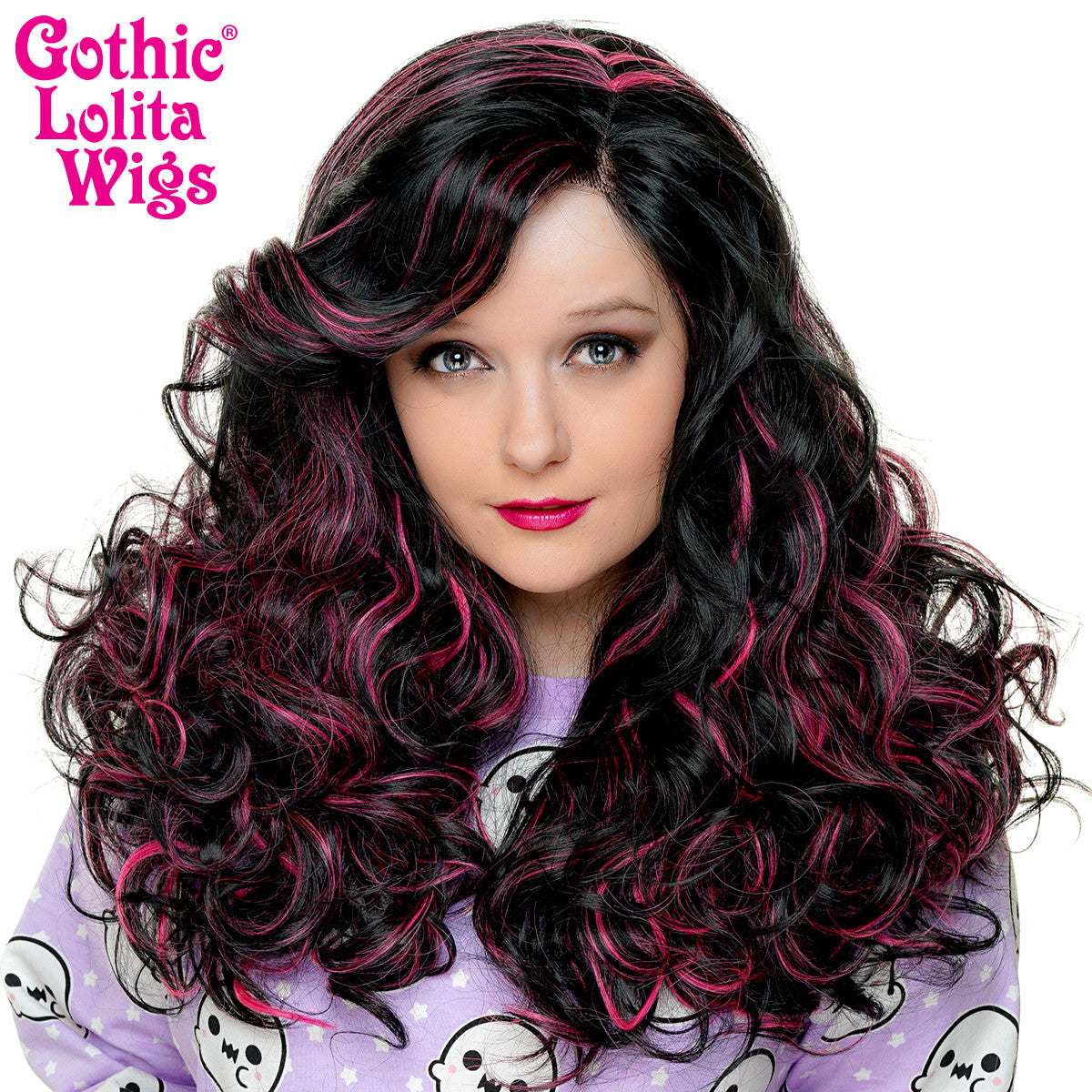 Lace Front Peek-A-Boo - Black With Hot Pink Highlights -00694