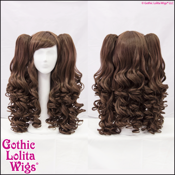 Gothic Lolita Babydoll wigs detachable ponytails dark chocolate brown mix
