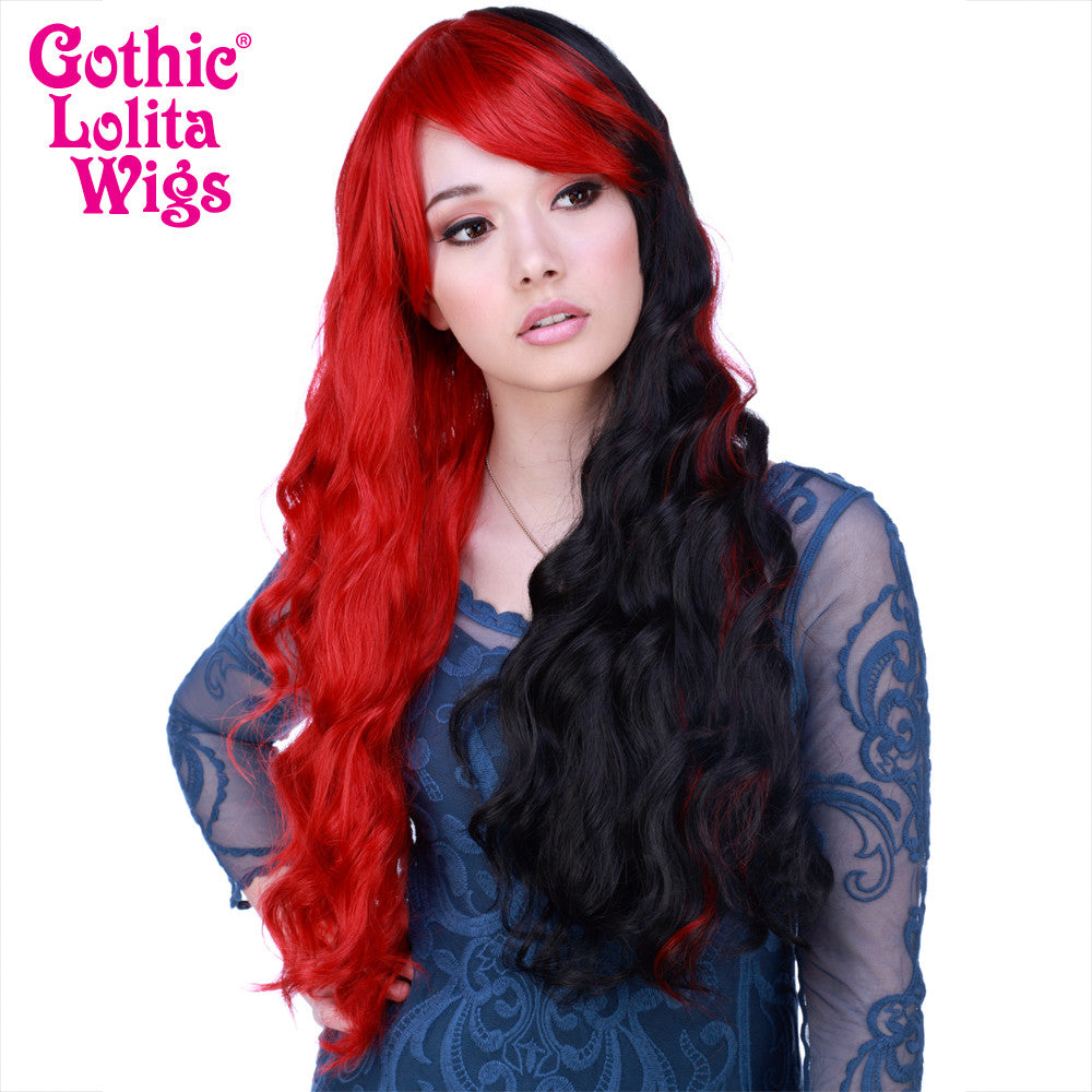 Gothic Lolita Wigs® <br> Classic Wavy Lolita™ Collection - Red & Black Split -00479