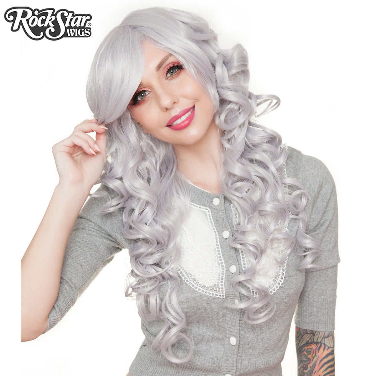 "Cosplay Wigs USA™ <br> Curly 70cm/28"" - Steel Grey 00312"