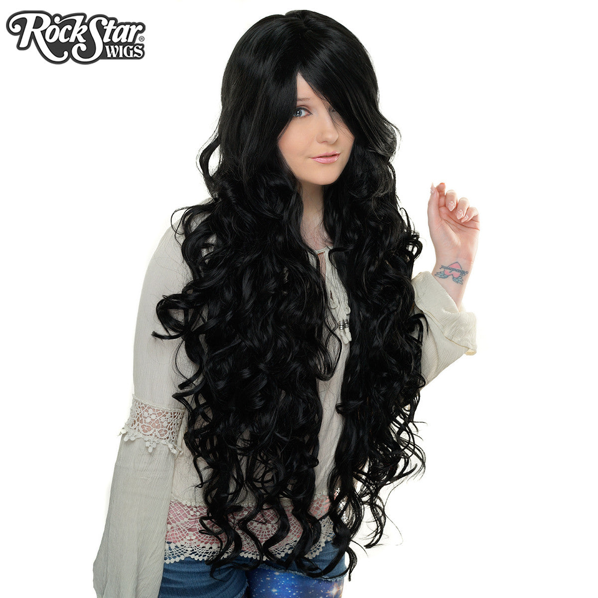 "Cosplay Wigs USA™ <br> Curly 90cm/36"" - Black -00317"