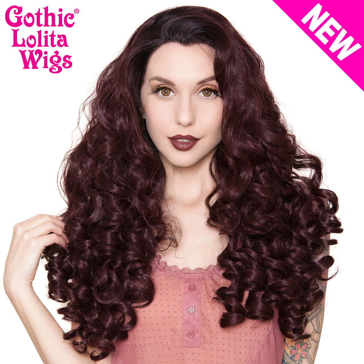 Lace Front Curly Dark Roots - Black Rose - 00486