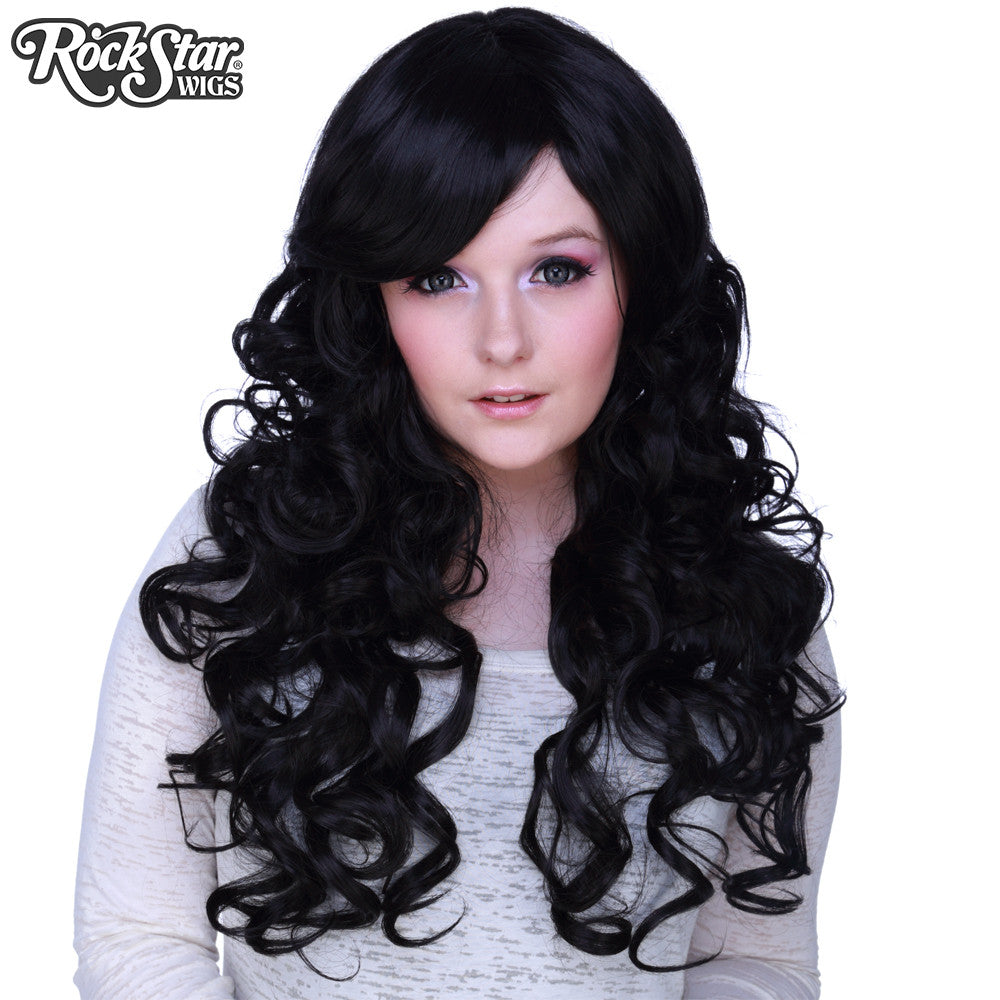 "Cosplay Wigs USA™ <br> Curly 70cm/28"" - Black -00304"