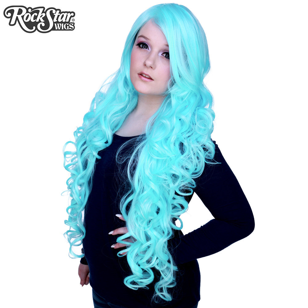 "Cosplay Wigs USA™ <br> Curly 90cm/36"" - Baby Blue -00316"