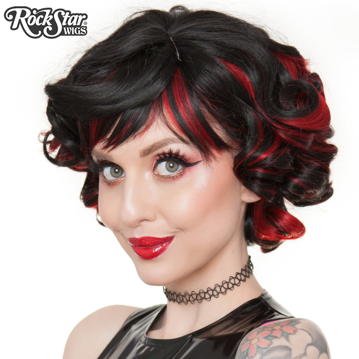 Gothic Lolita Wigs® <br> Curly Bob™ - Black & Red 00544