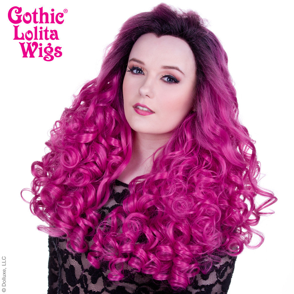 Lace Front Curly Dark Roots - Fuchsia Rose -00565