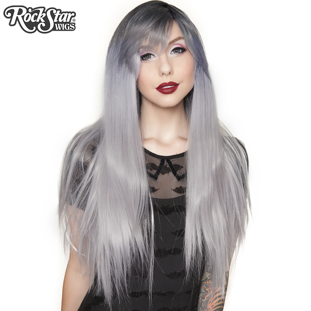 RockStar Wigs® Bella Dark Root ™ Collection - Silver -00056