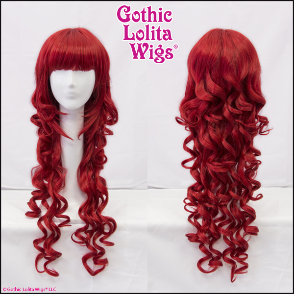Gothic Lolita Wigs Elodie Collection Red Crimson Long Curly