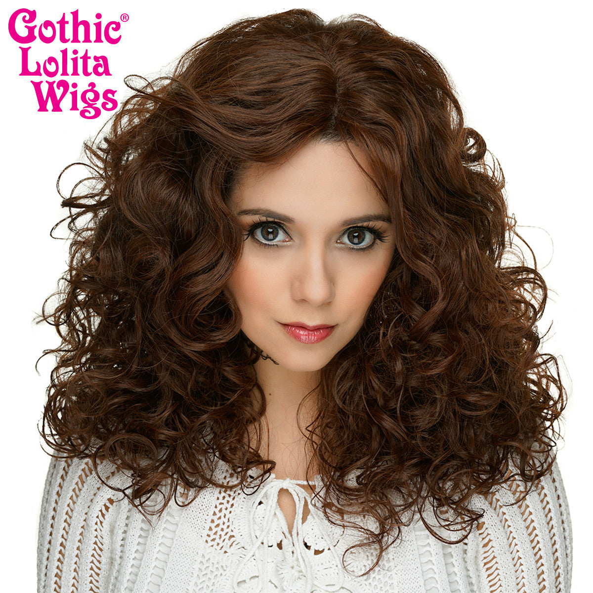 "Lace Front 20"" Medium Curly - Chocolate Brown -00768"