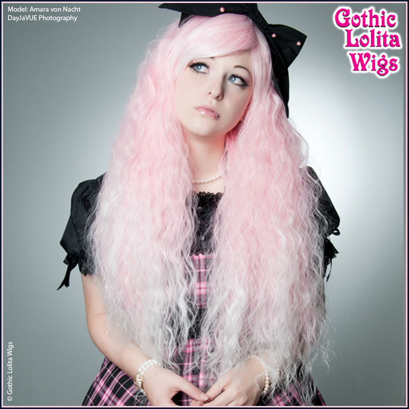 Pink White Ombre Fade Rhapsody Long Crimped Mermaid Hair
