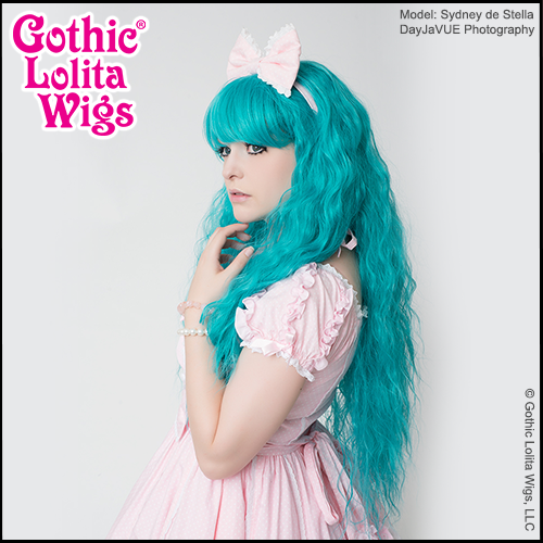 Amara Von Nacht in Gothic Lolita Wigs Genuine Rhapsody in Teal crimped mermaid style hair