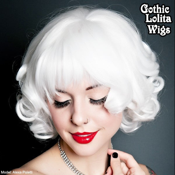 White Platinum Blonde Short Curly Bombshell Cosplay Costume Bob - Wigs for Ladies