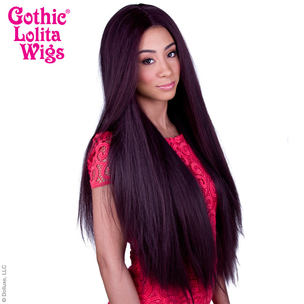 "Lace Front Yaki Straight 32"" - Black Mahogany Burgundy Mix -00590"
