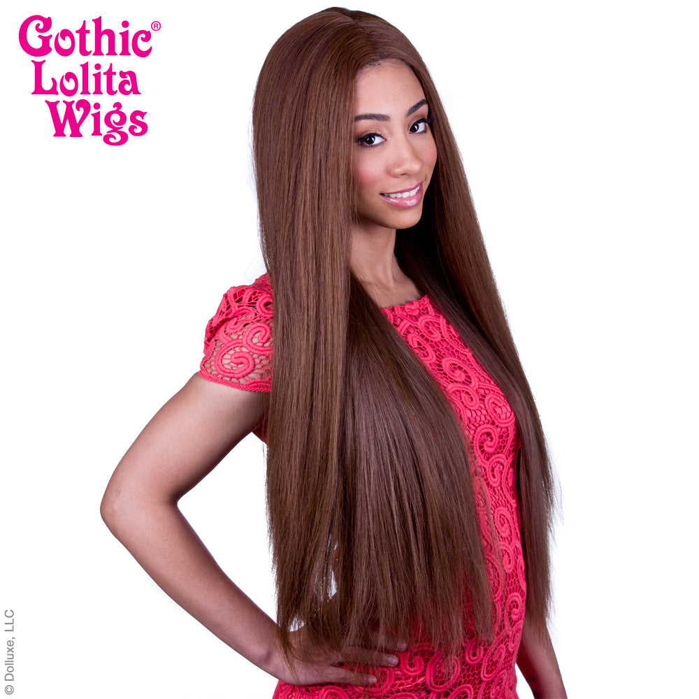 "Lace Front Yaki Straight 32"" - Chestnut Brown Mix -00592"