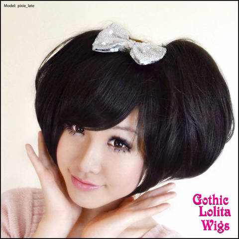 Gothic Lolita Wigs® <br> Pixie™ Collection - Bun 1 (Black) -00075