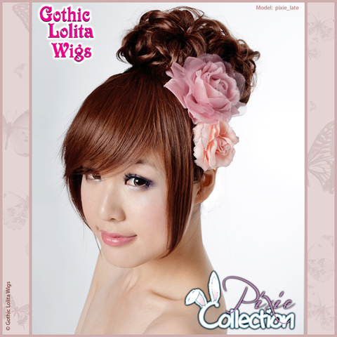 Gothic Lolita Wigs® <br> Pixie™ Collection - Bun 2 (Dark Brown) -00081