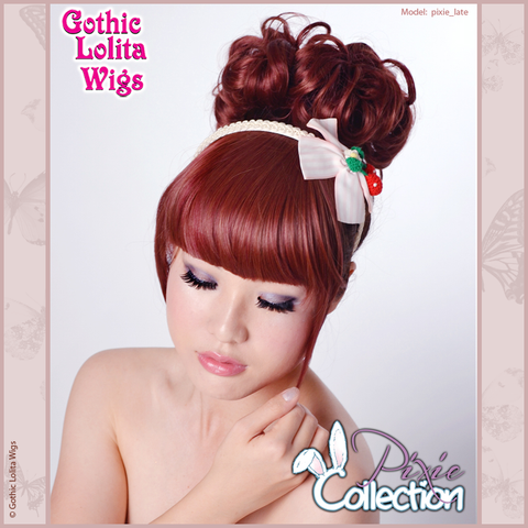 Gothic Lolita Wigs® <br> Pixie™ Collection - Bun 2 (Burgundy & Brown Mix) -00080