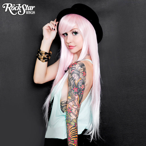Rockstar Wigs Ombre Alexa Collection Pink To White Fade