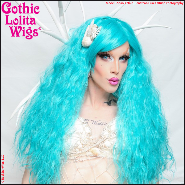 Drag queen Anaol Fetale in Rockstar Wigs Rhapsody Teal