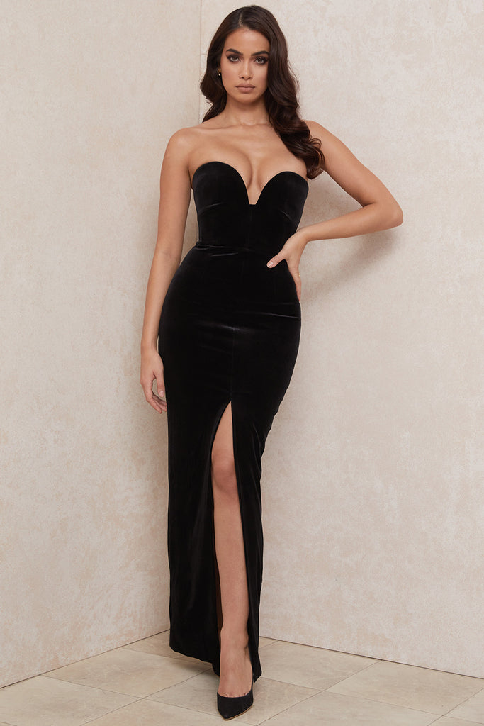 long black strapless velvet gown