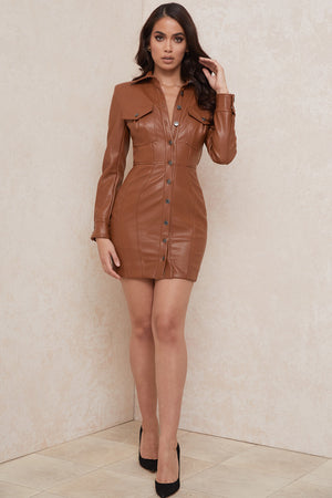 brown leather blazer dress