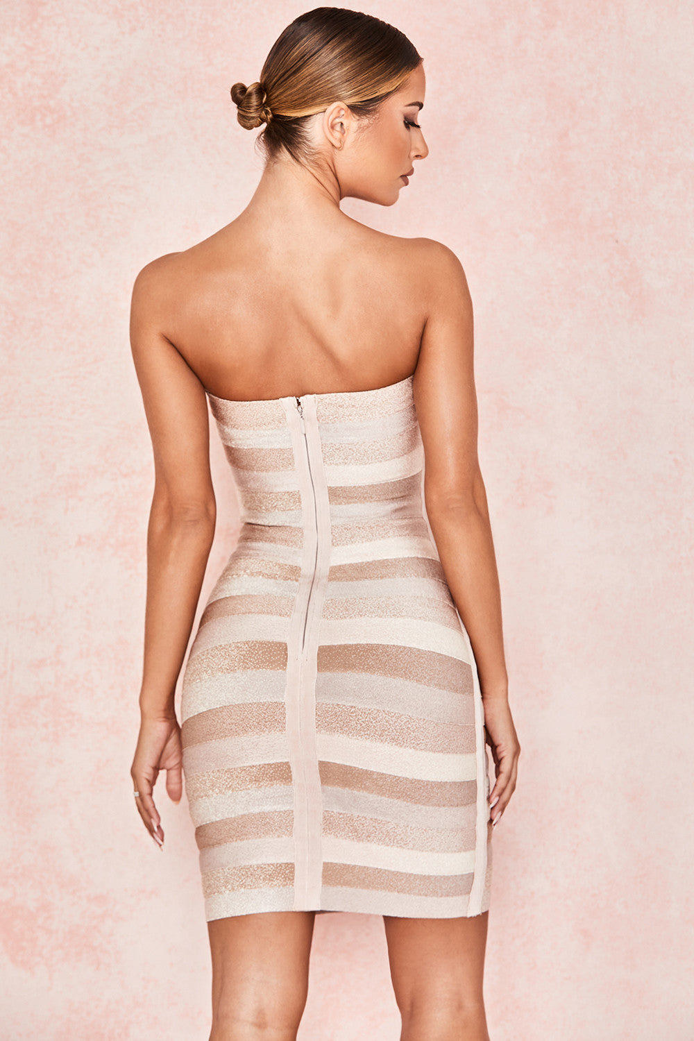 beige strapless dress
